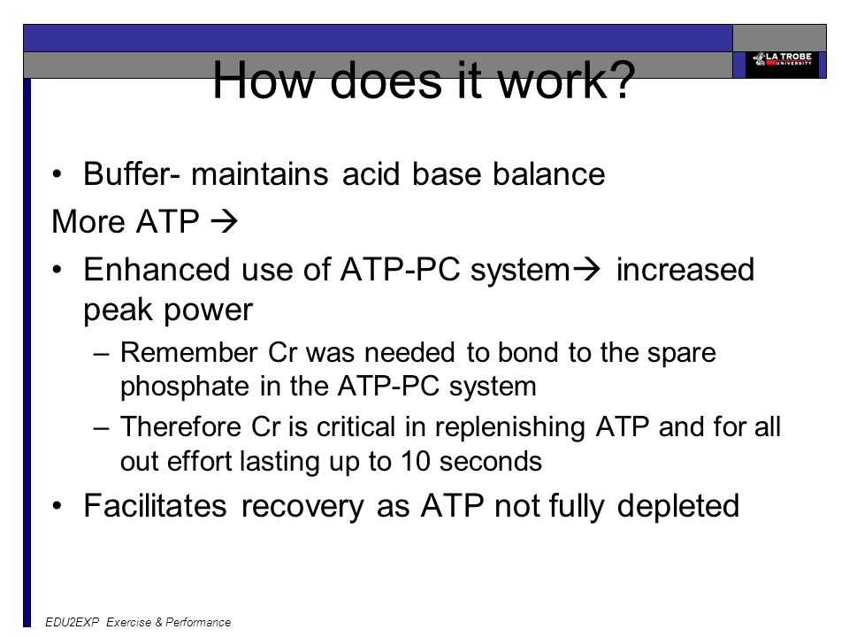 How does it work Buffer- maintains acid base balance More ATP 