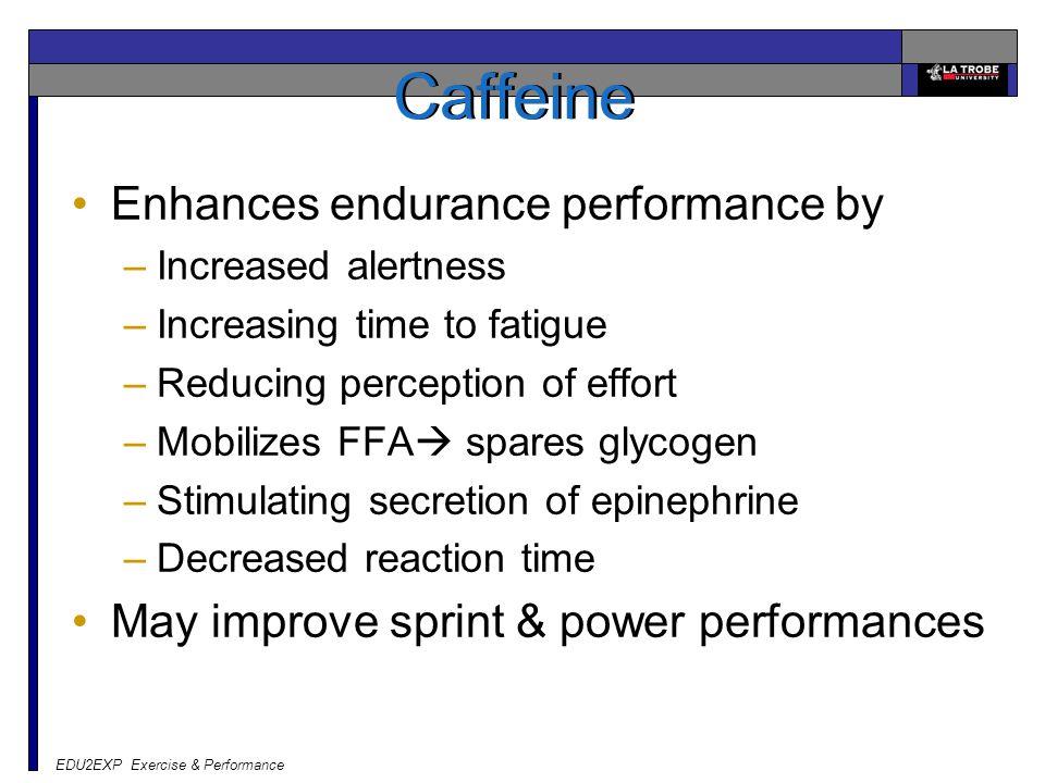 Caffeine Enhances endurance performance by