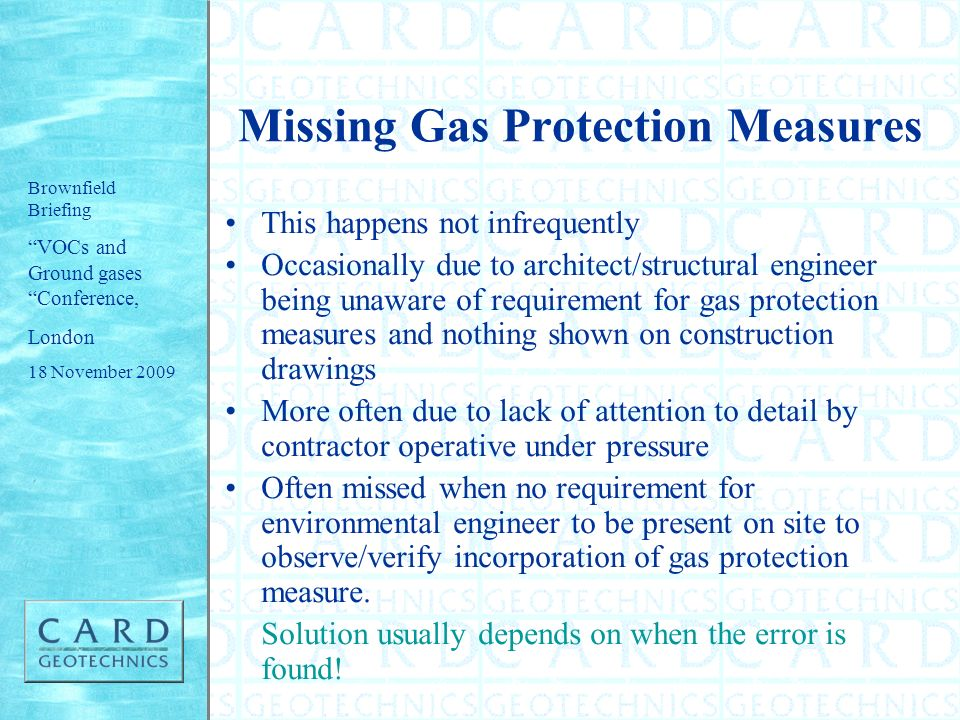 Missing Gas Protection Measures