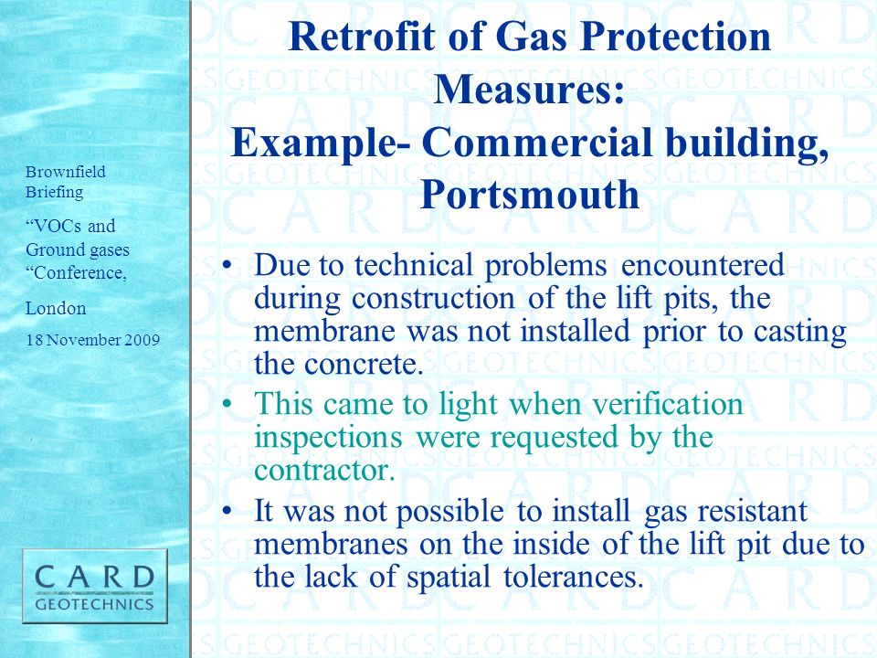 Retrofit of Gas Protection Measures: Example- Commercial building, Portsmouth