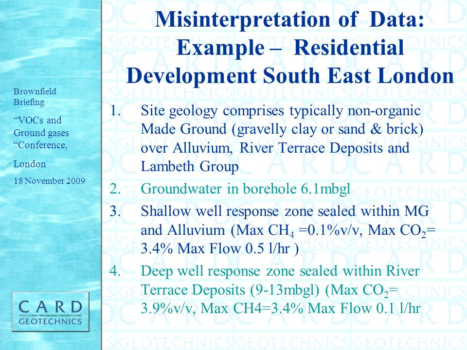 Misinterpretation of Data: Example – Residential Development South East London