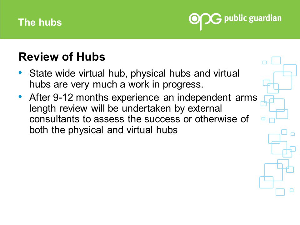 The hubs Review of Hubs. State wide virtual hub, physical hubs and virtual hubs are very much a work in progress.