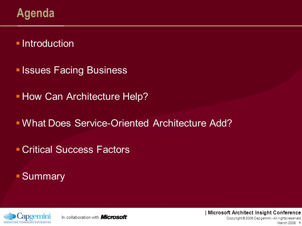 Agenda Introduction Issues Facing Business How Can Architecture Help