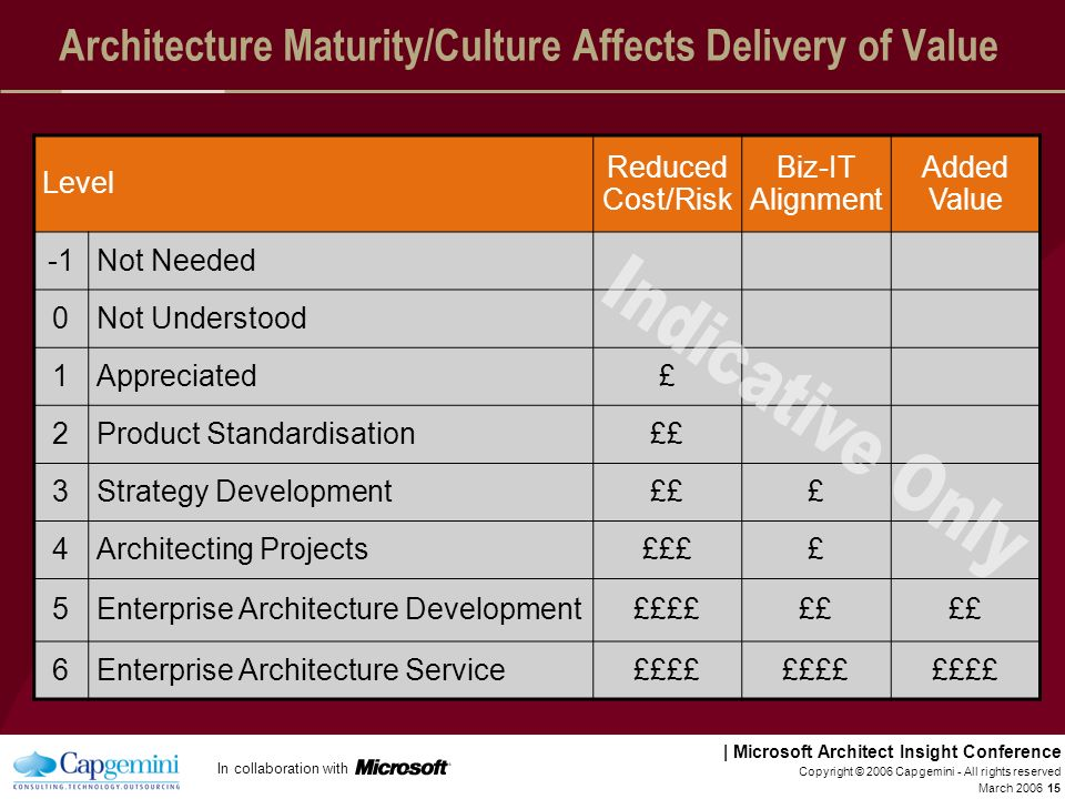 Architecture Maturity/Culture Affects Delivery of Value