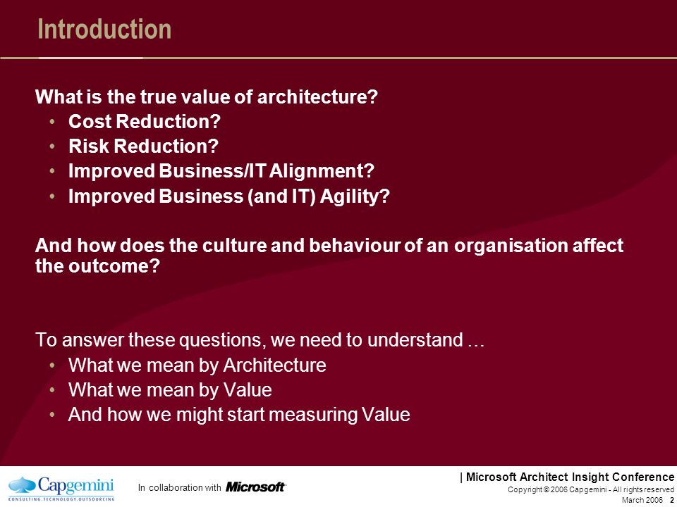 Introduction What is the true value of architecture Cost Reduction
