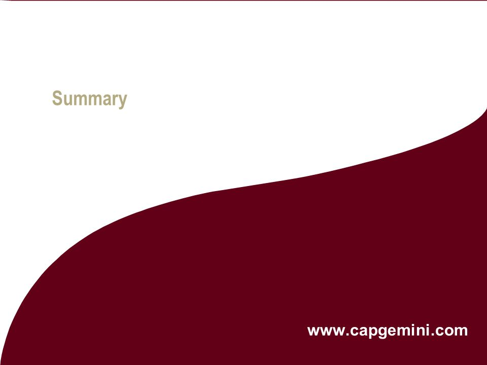 Summary   © 2004 Capgemini - All rights reserved