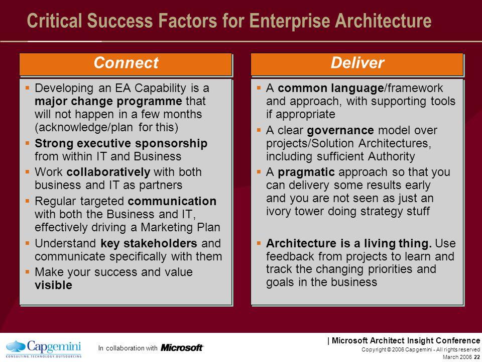 Critical Success Factors for Enterprise Architecture