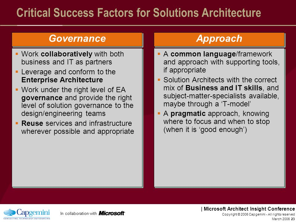 Critical Success Factors for Solutions Architecture