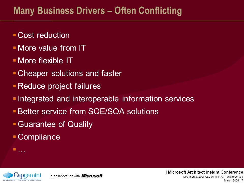 Many Business Drivers – Often Conflicting
