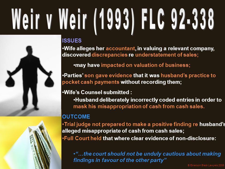 Weir v Weir (1993) FLC 92-338 ISSUES