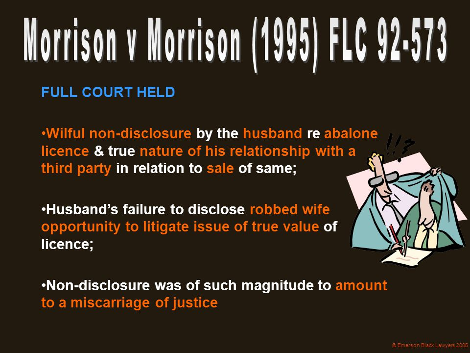 Morrison v Morrison (1995) FLC 92-573