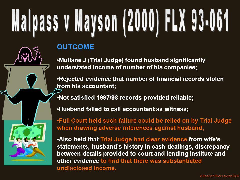 Malpass v Mayson (2000) FLX 93-061