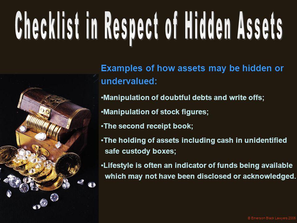 Checklist in Respect of Hidden Assets