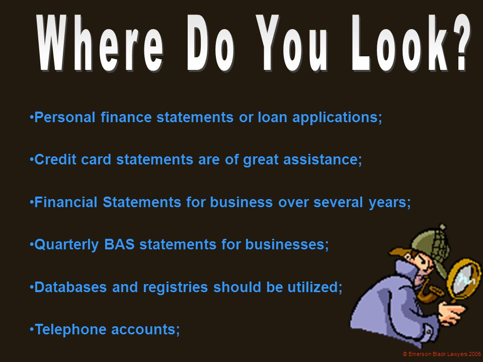 Personal finance statements or loan applications;