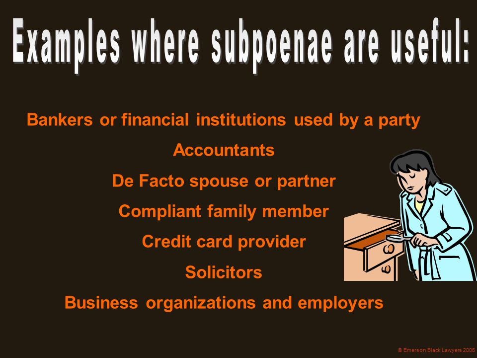 Bankers or financial institutions used by a party Accountants