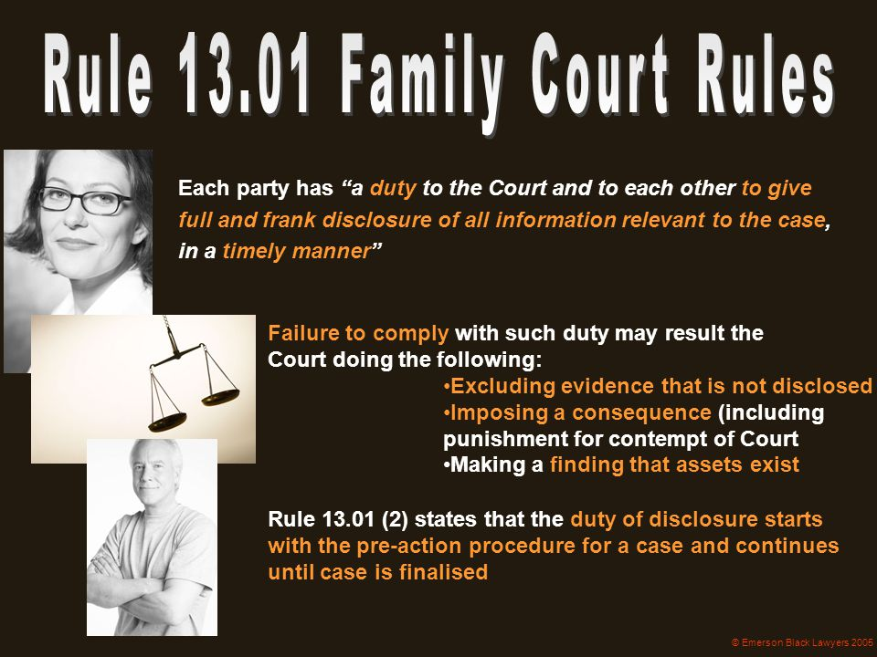 Rule 13.01 Family Court Rules