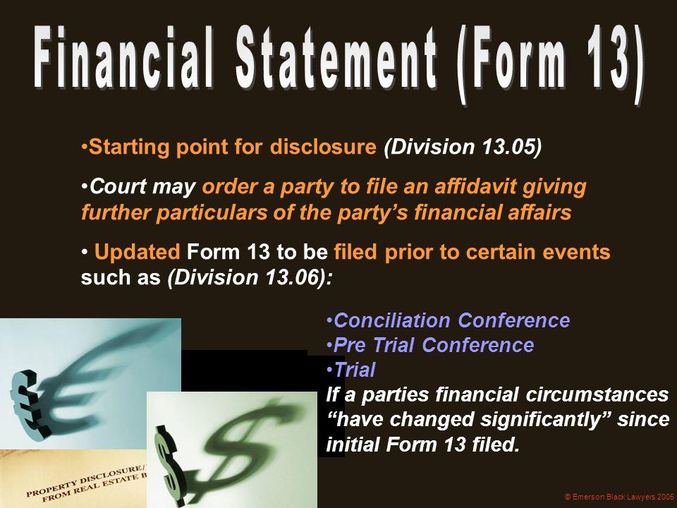 Financial Statement (Form 13)