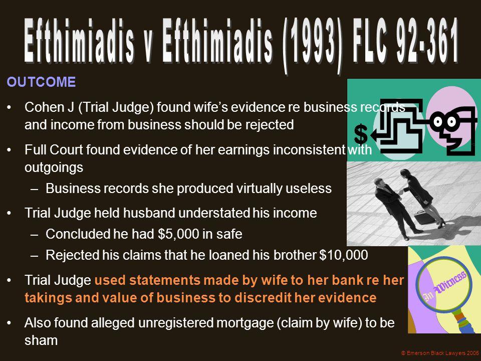 Efthimiadis v Efthimiadis (1993) FLC 92-361
