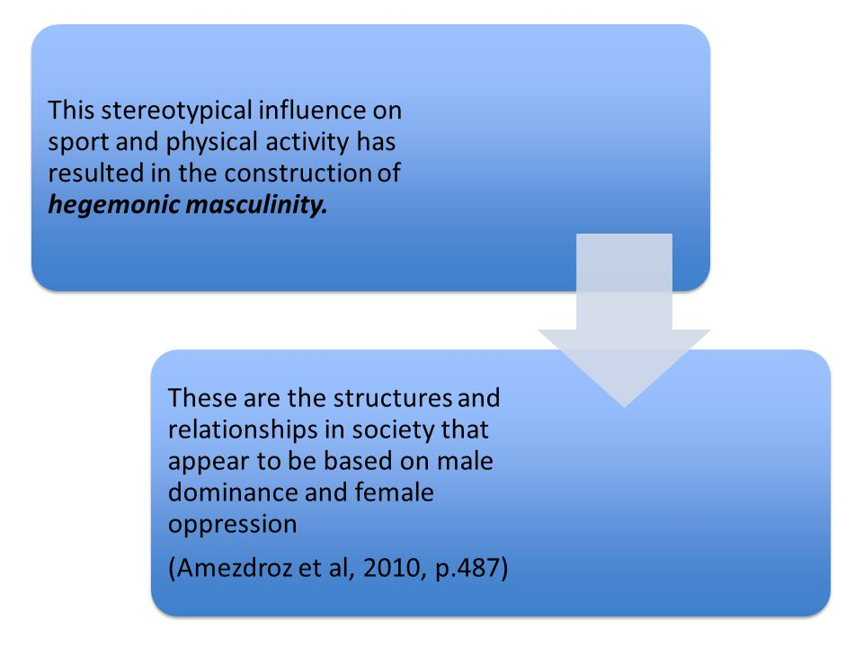 This stereotypical influence on sport and physical activity has resulted in the construction of hegemonic masculinity.