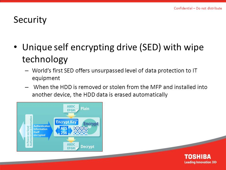 Unique self encrypting drive (SED) with wipe technology