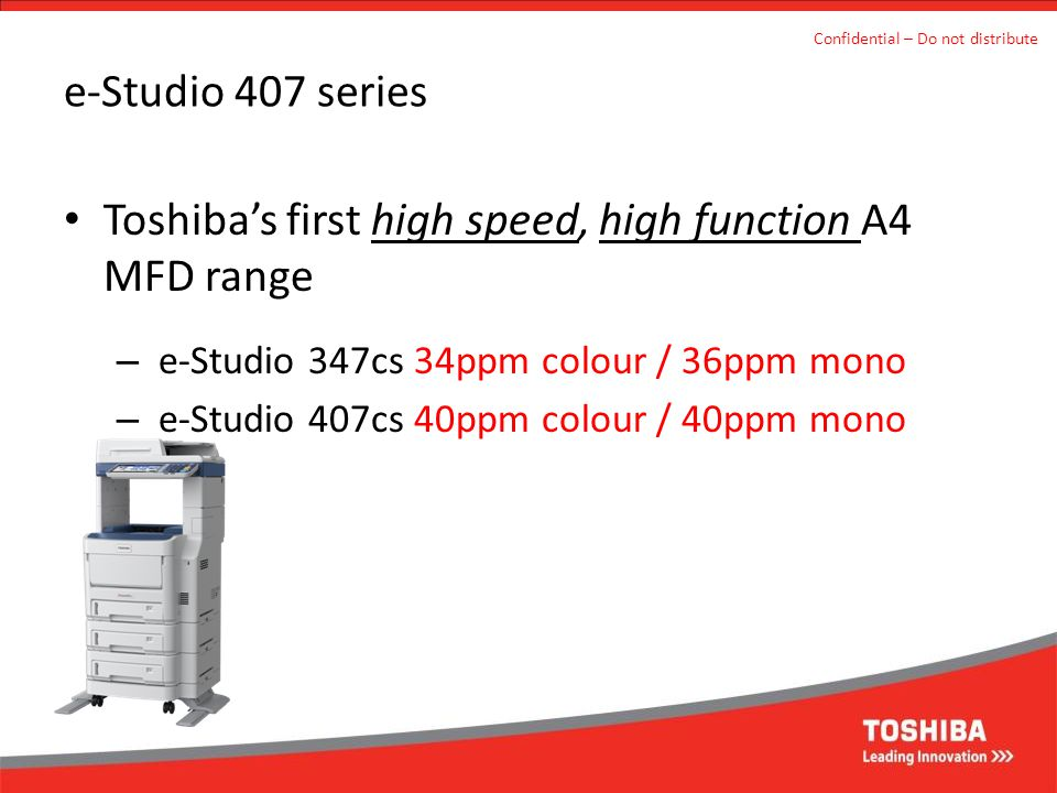 Toshiba's first high speed, high function A4 MFD range