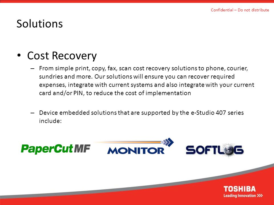 Solutions Cost Recovery