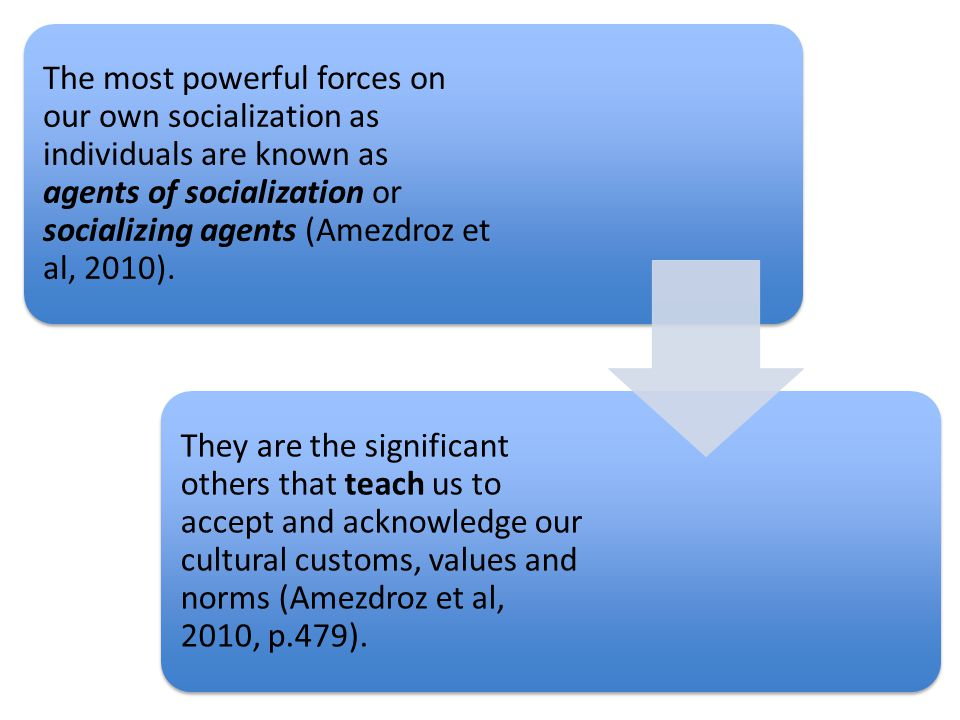 The most powerful forces on our own socialization as individuals are known as agents of socialization or socializing agents (Amezdroz et al, 2010).