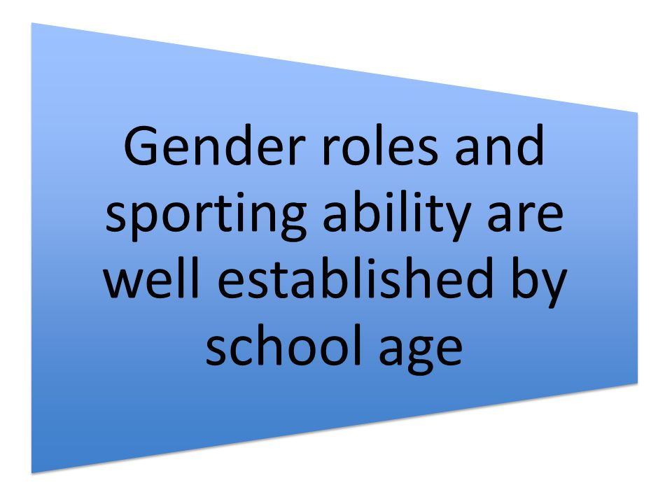 Gender roles and sporting ability are well established by school age