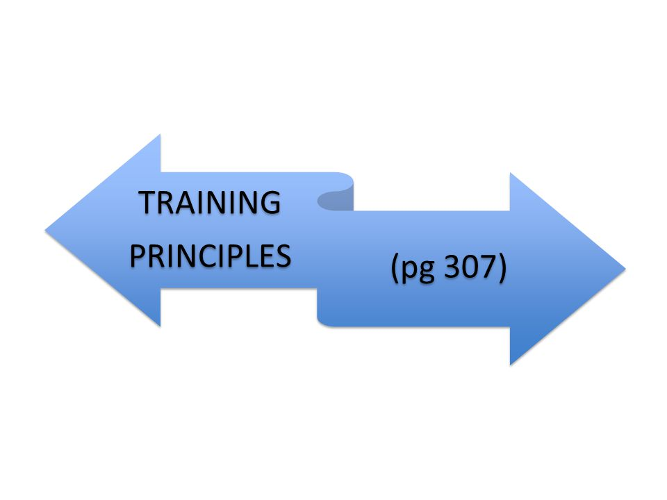 TRAINING PRINCIPLES (pg 307)