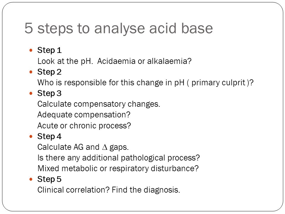 5 steps to analyse acid base