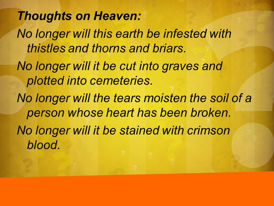 Thoughts on Heaven: No longer will this earth be infested with thistles and thorns and briars.