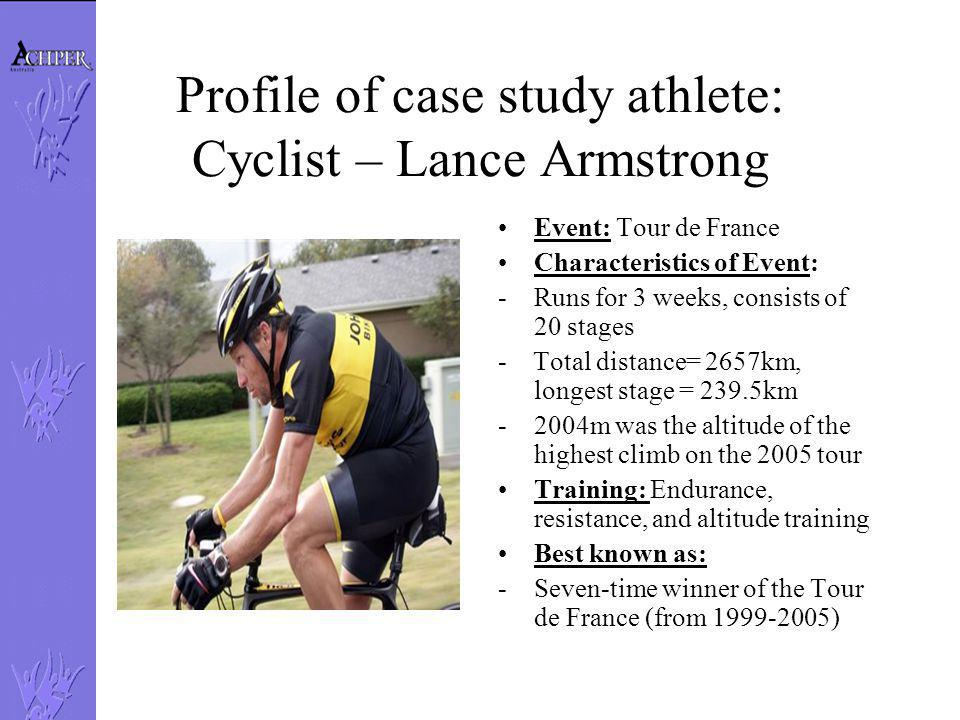 Profile of case study athlete: Cyclist – Lance Armstrong