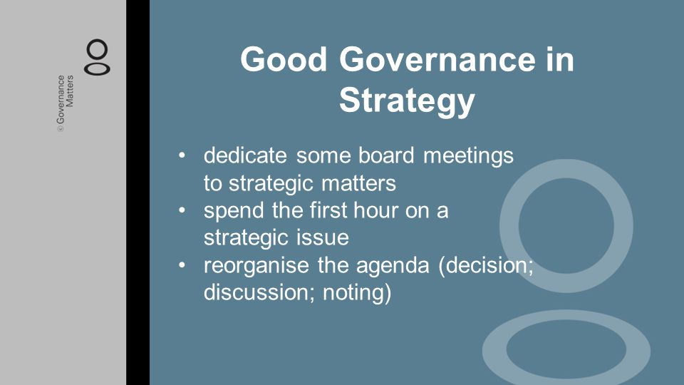 Good Governance in Strategy