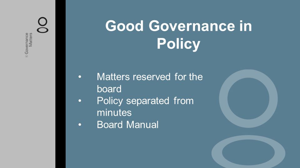 Good Governance in Policy