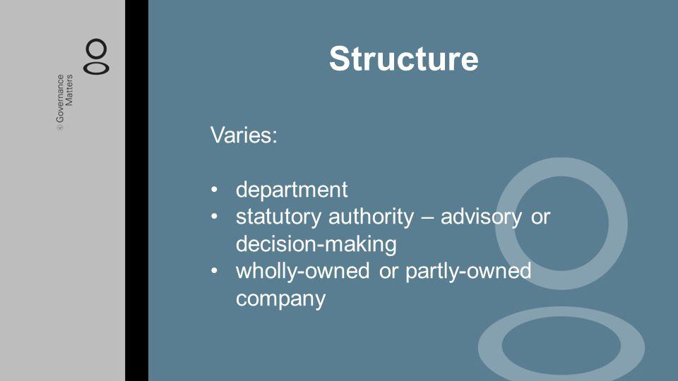 Structure Varies: department