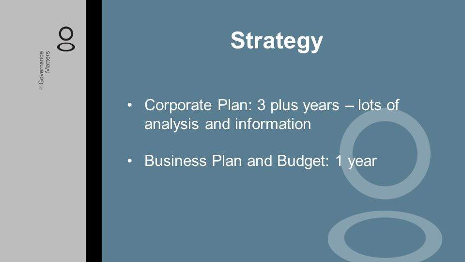 Strategy Corporate Plan: 3 plus years – lots of analysis and information.