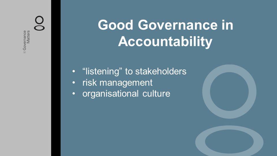 Good Governance in Accountability