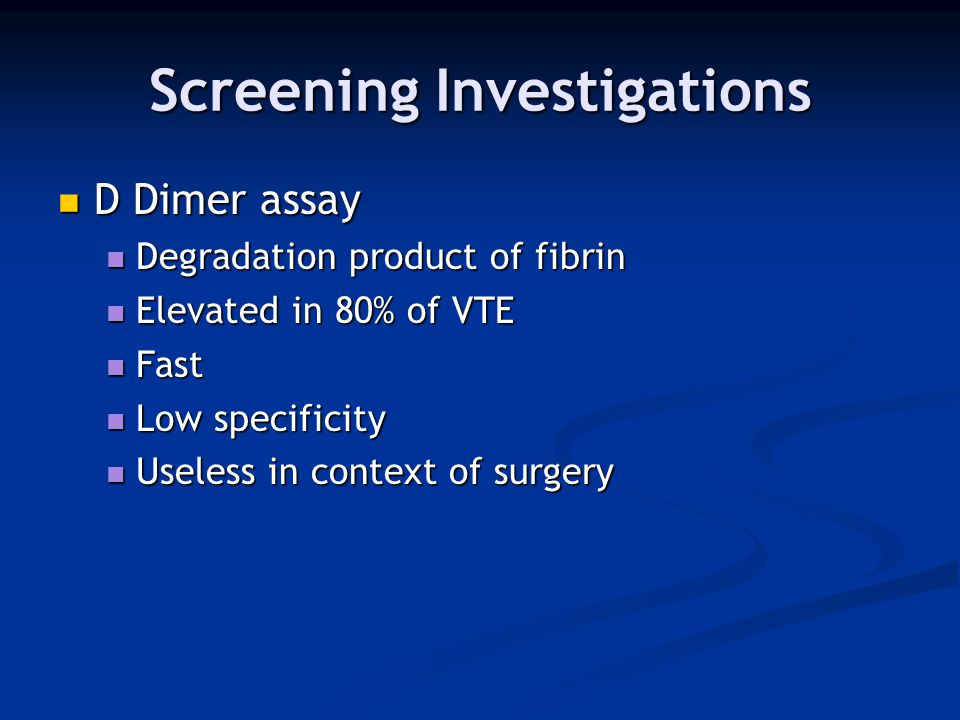 Screening Investigations