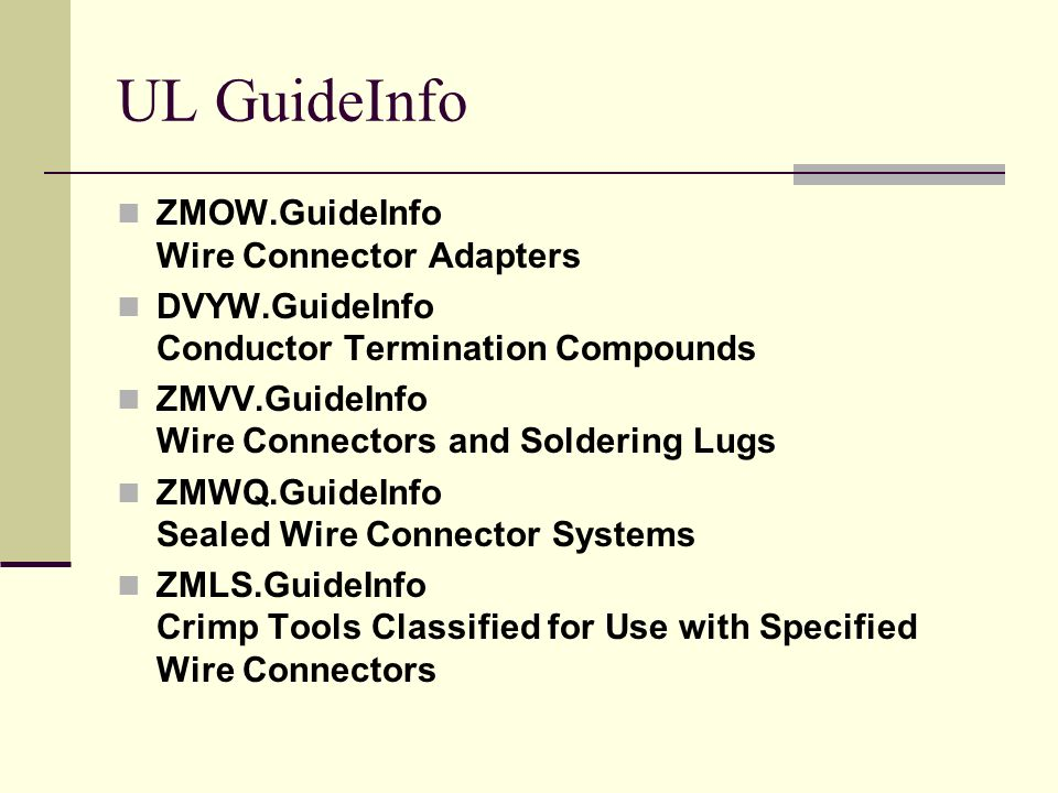 UL GuideInfo ZMOW.GuideInfo Wire Connector Adapters