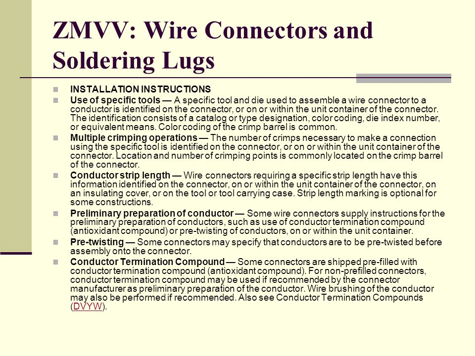 ZMVV: Wire Connectors and Soldering Lugs