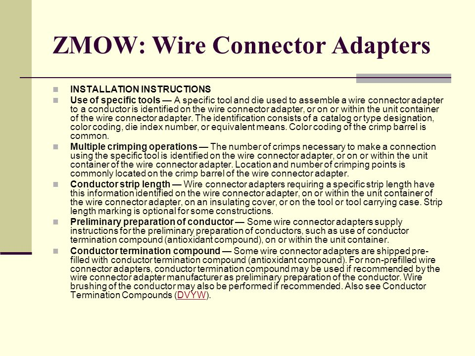 ZMOW: Wire Connector Adapters