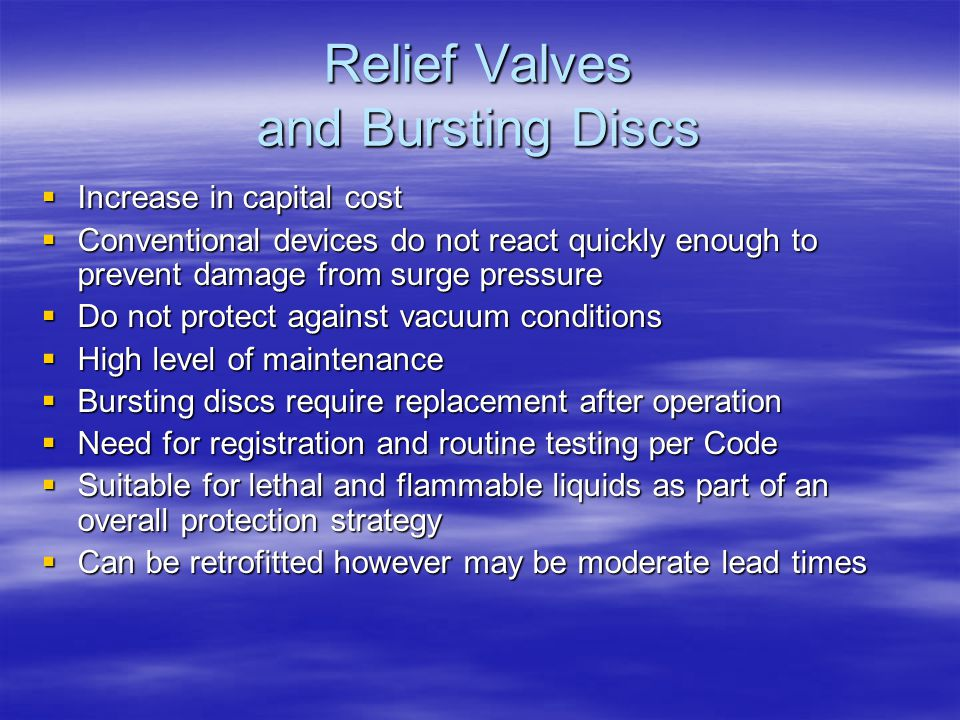 Relief Valves and Bursting Discs