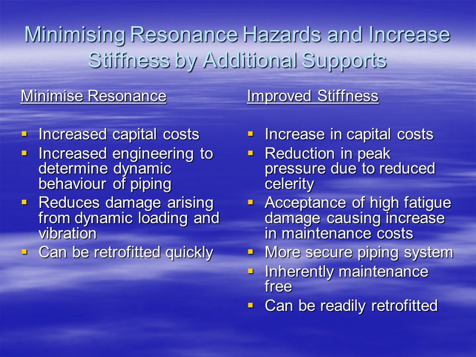 Minimising Resonance Hazards and Increase Stiffness by Additional Supports