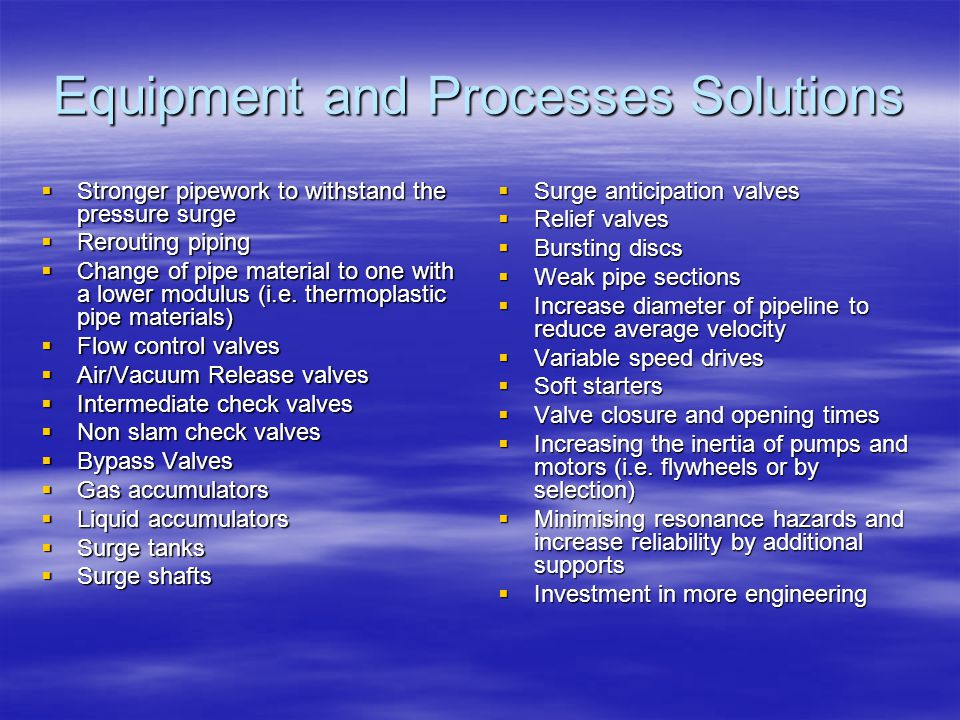 Equipment and Processes Solutions