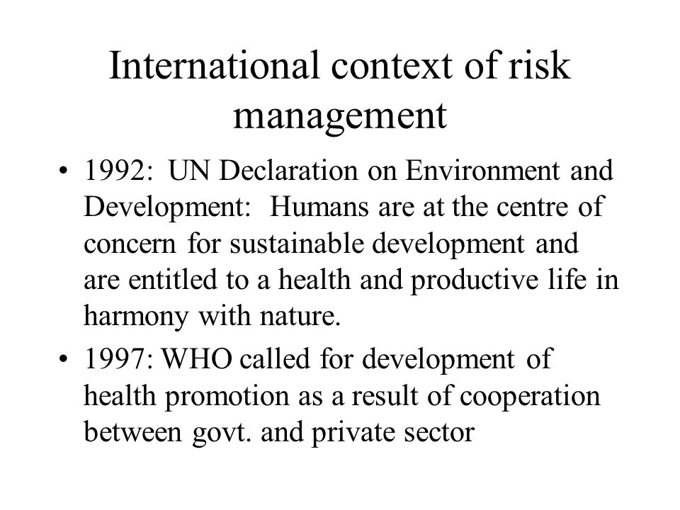International context of risk management