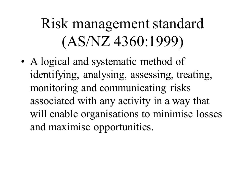 Risk management standard (AS/NZ 4360:1999)