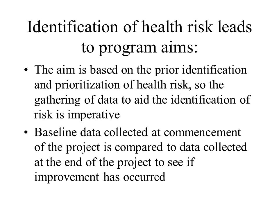 Identification of health risk leads to program aims: