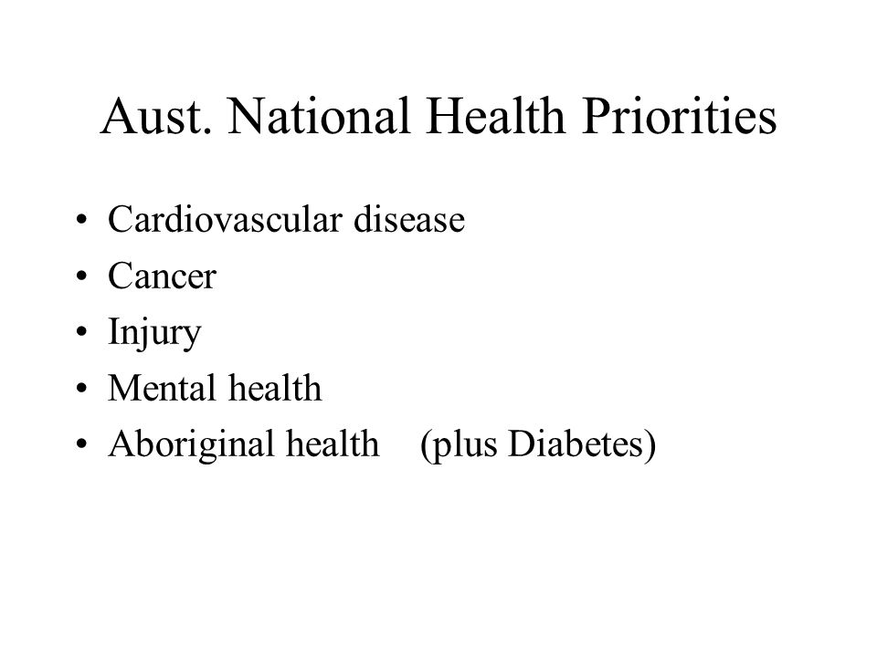 Aust. National Health Priorities