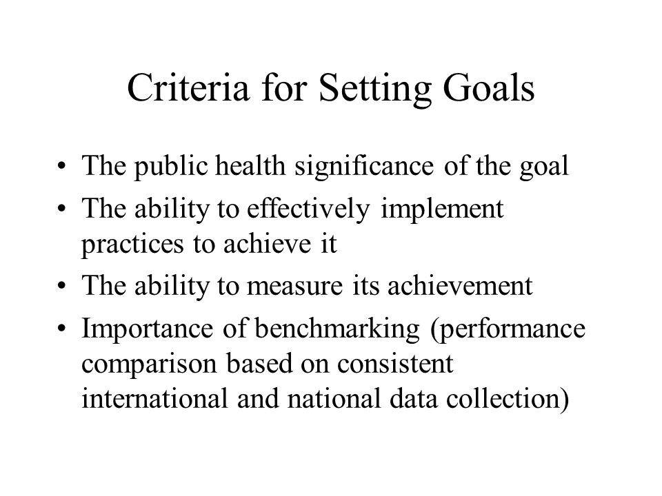 Criteria for Setting Goals