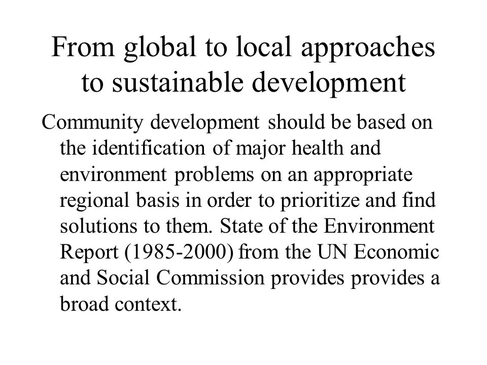 From global to local approaches to sustainable development